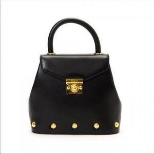 Rare Ferragamo vintage black/gold studs bag
